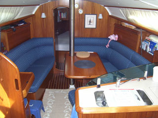 boat saloon upholstery in a blue color